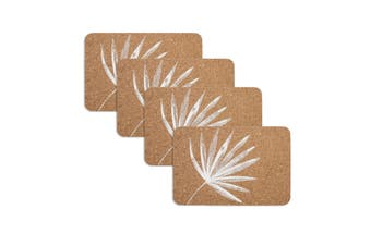 Set of 4 Jade Palm White Cork Placemats by Ladelle