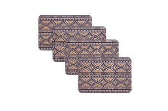 Set of 4 Oasis Tribal Navy Cork Placemats by Ladelle