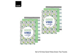 Set of 6 Arise Good Vibes Tea Towels Green by Ladelle