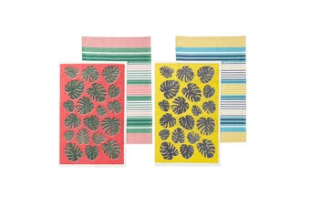 Set of 4 Bahamas Kitchen / Cleaning 100% Cotton Tea Towels Mix by Ladelle