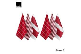 Set of 6 Christmas Brick Cotton Tea Towels Design 1 by Ladelle