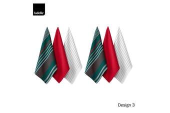 Set of 6 Christmas Brick Cotton Tea Towels Design 3 by Ladelle