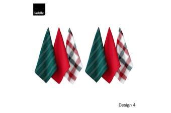 Set of 6 Christmas Brick Cotton Tea Towels Design 4 by Ladelle