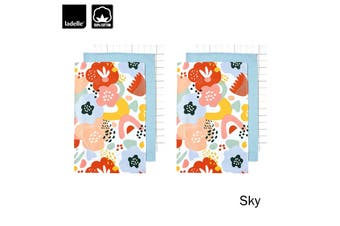 Set of 6 Dwell Floral Cotton Tea Towels Sky by Ladelle