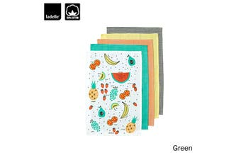 Set of 5 Frutti Cotton Tea Towels Green by Ladelle