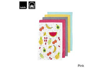 Set of 5 Frutti Cotton Tea Towels Pink by Ladelle