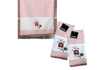 Set of 2 Saika Kitchen / Cleaning 100% Cotton Embroidered Tea Towels 45 x 70 cm by Ladelle