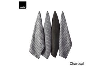 Set of 4 Honeycomb Microfibre Kitchen Towels Charcoal by Ladelle