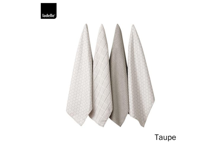 Set of 4 Honeycomb Microfibre Kitchen Towels Taupe by Ladelle