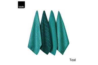 Set of 4 Honeycomb Microfibre Kitchen Towels Teal by Ladelle