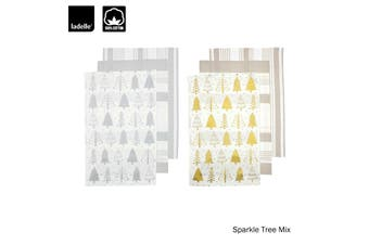 Set of 6 Sparkle Tree Kitchen / Cleaning 100% Cotton Tea Towels Mix by Ladelle