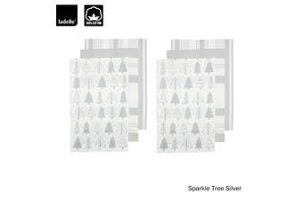 Set of 6 Sparkle Tree Kitchen / Cleaning 100% Cotton Tea Towels Silver by Ladelle
