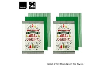 Set of 6 Very Merry Kitchen / Cleaning 100% Cotton Tea Towels Green by Ladelle