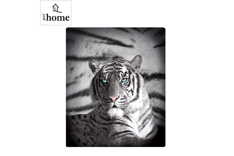 Blue Eyes Stripes Tiger Polar Fleece Throw Rug by Just Home