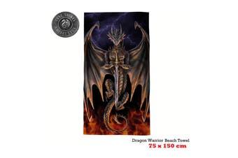 Dragon Warrior Beach Towel 75 x 150 cm by Anne Stoke