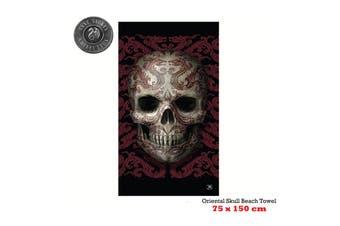 Oriental Skull Beach Towel 75 x 150 cm by Anne Stoke