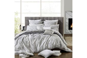 300TC Alesso Silver Cotton Sateen Quilt Cover Set Queen by Private Collection