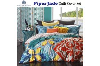 Logan & Mason Piper Jade Quilt Cover Set QUEEN