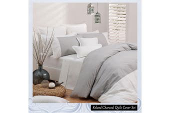 Roland Charcoal Quilt Cover Set KING by Logan and Mason