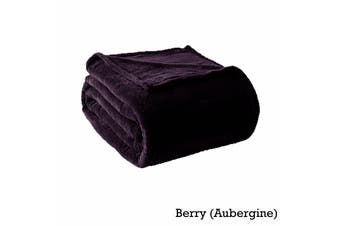 300GSM Microloft Blanket Berry (Aubergine) DOUBLE by Alastairs