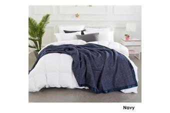 Australian Merino Wool Blanket Navy by Alastairs