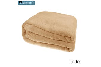 Royale Coral Fleece Blanket Latte King by Alastairs