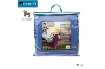 375GSM Australian Merino Wool Blanket Blue Double