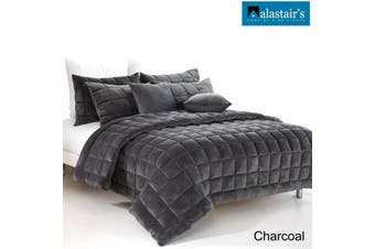 Augusta Faux Mink Square Cushion Charcoal by Alastairs