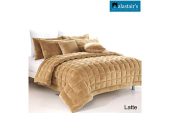 Augusta Faux Mink Square Cushion Latte by Alastairs