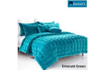 Augusta Faux Mink Quilt/Bedding Set Emerald Green Double
