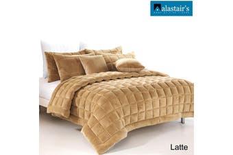 Augusta Faux Mink Quilt/Bedding Set Latte Double