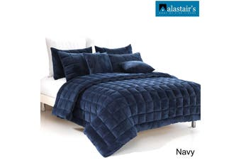 Augusta Faux Mink Quilt/Comforter Set Navy by Alastairs