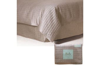 Cosmo Quilted Valance Linen Colour King by Perle Linge de Maison