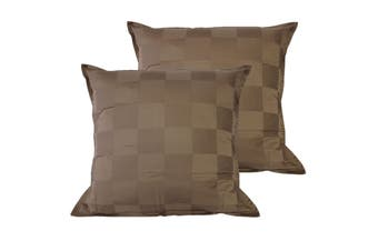 Pair of Dominic Coffee European Pillowcases by Orient Sense