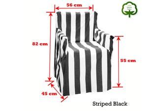 Alfresco 100% Cotton Director Chair Cover - Striped Black