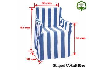 Alfresco 100% Cotton Director Chair Cover - Striped Cobalt Blue