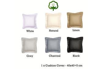 Paris Cotton Waffle Cushion Cover Linen 40x40+5 cm by Jenny Mclean