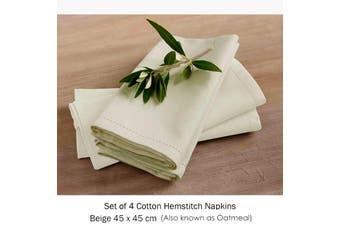 Set of 4 Cotton Hemstitch Napkins Beige by Rans