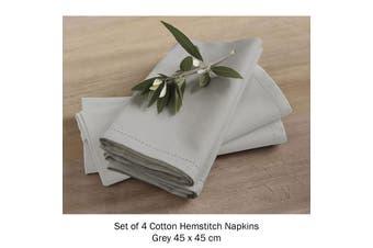 Set of 4 Cotton Hemstitch Napkins Grey by Rans