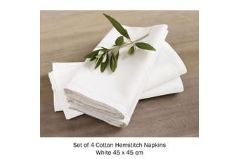 Set of 4 Cotton Hemstitch Napkins White by Rans