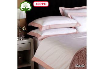 La Via 400TC Cotton Sateen Quilt Cover Set Peach SUPER KING