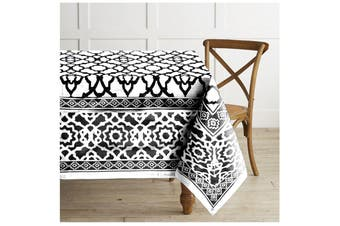 Pure Cotton Vintage Tablecloth Black 150 X 300 + 4 cm
