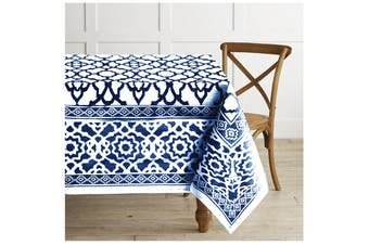 Pure Cotton Vintage Tablecloth Indigo 150 X 300 + 4 cm