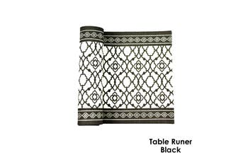 Cotton Vintage Table Runner Black by Rans