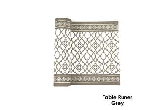 Cotton Vintage Table Runner - Grey