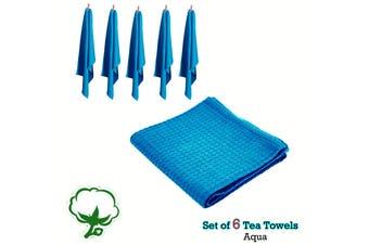 Set of 6 Cotton Waffle Tea Towels 50x70 cm Aqua by Rans