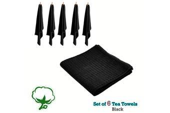 Set of 6 Cotton Waffle Tea Towels 50x70 cm Black by Rans