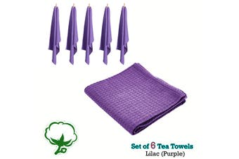 Set of 6 Cotton Waffle Tea Towels 50x70 cm Lilac (Purple) by Rans