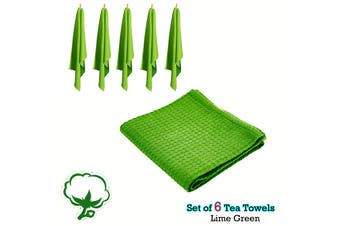 Set of 6 Cotton Waffle Tea Towels 50x70 cm Lime Green by Rans