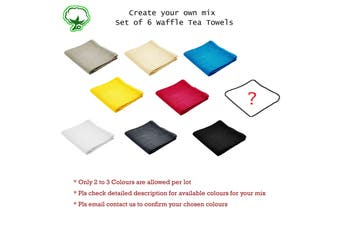 Set of 6 Cotton Waffle Tea Towels 50x70 cm Mix Your Own by Rans